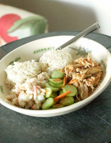 Recipes for a Tropical-Inspired Plate Lunch: Hawaiian Chicken, Hawaiian Mac Salad, Coconut Rice, and Cucumber and Carrot Salad