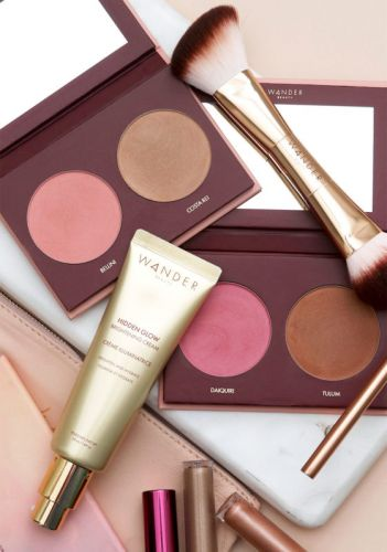 New From Wander Beauty: Trip For Two Blush and Bronzer Duo, Hidden Glow Brightening Cream, and the Trip for Two Blush and Bronzer Brush