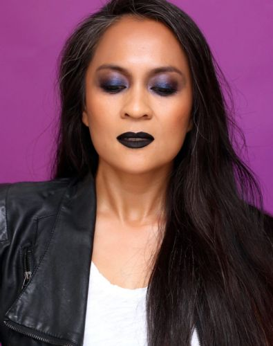 A Ghost Bride Vibe: Sooty Smokey Lids With Matte Black Lips
