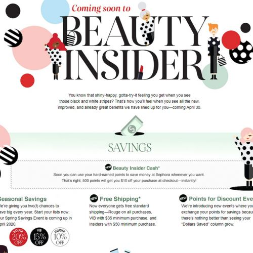Sephora Beauty Insider | Reward Program Changes for April 2020