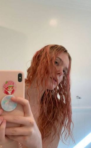 Elle Fanning Dyed Her Hair Pastel Pink at Home and It's So Dreamy
