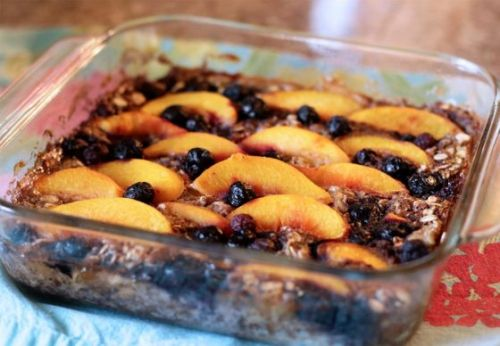 Stress Baking While Social Distancing: Peach, Blueberry and Banana Oatmeal Bake