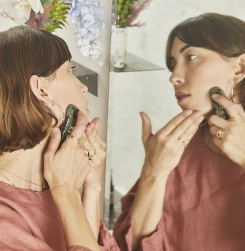 This New Facial Tool Combines Gua Sha and Jade Rolling to Melt Away Stress